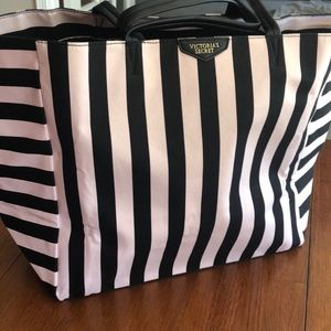 NEW PINK Victoria's Secret striped tote